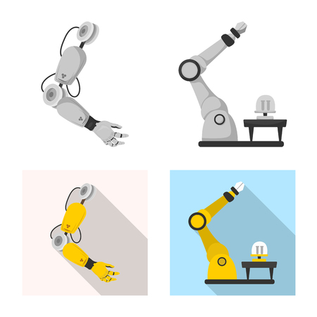 Vector design of robot and factory logo. Set of robot and space stock symbol for web.