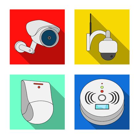 Isoliertes Objekt von CCTV und Kamerasymbol. Satz von CCTV- und Systemvektorsymbol für Lager.