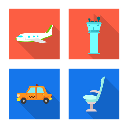 Vector illustration of airport and airplane logo. Set of airport and plane stock symbol for web.