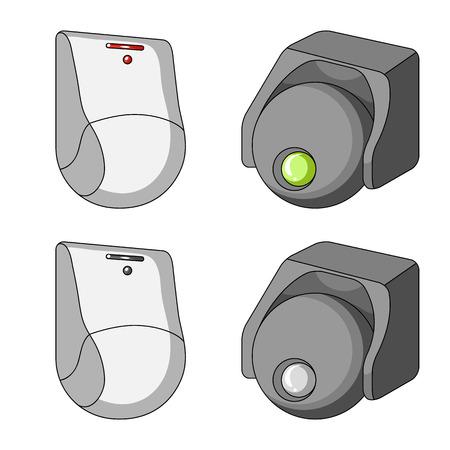 Vektorillustration von CCTV und Kamera-Logo. Sammlung von CCTV- und Systemvorratvektorillustration.