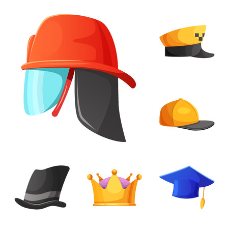 Vector design of headgear and cap symbol. Collection of headgear and accessory stock vector illustration. Illustration