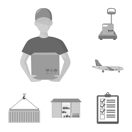 Logistics service monochrome icons in set collection for design. Logistics and equipment vector symbol stock web illustration.