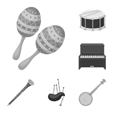 Musical instrument monochrome icons in set collection for design. String and Wind instrument vector symbol stock web illustration.
