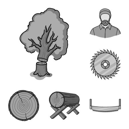 Sawmill and Timber monochrome icons in set collection for design. Hardware and Tools vector symbol stock web illustration. Illusztráció