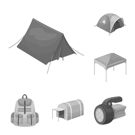 Different kinds of tents monochrome icons in set collection for design. Temporary shelter and housing vector symbol stock web illustration.