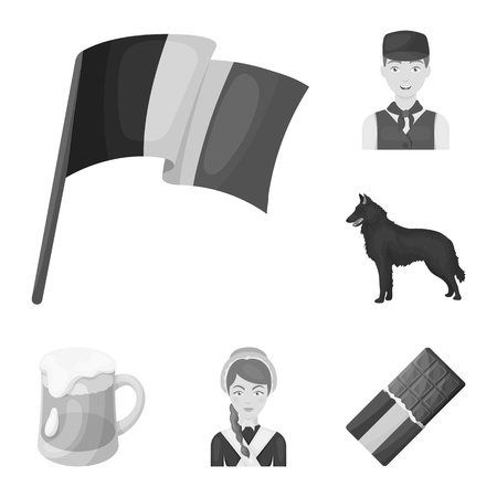 Country Belgium monochrome icons in set collection for design.Travel and attractions Belgium vector symbol stock web illustration.