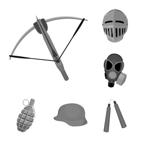 Types of weapons monochrome icons in set collection for design.Firearms and bladed weapons vector symbol stock web illustration. Illustration