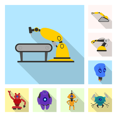 Isolated object of robot and factory icon. Set of robot and space vector icon for stock.