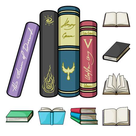 Libro rilegato icone dei cartoni animati nella raccolta di set per il design. Prodotti stampati simbolo d'archivio web illustrazione di vettore.
