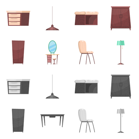 Isolated object of furniture and apartment icon. Set of furniture and home stock symbol for web.