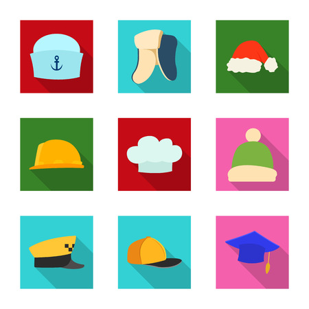 Vector design of headgear and cap icon. Collection of headgear and accessory stock vector illustration. Stock Illustratie