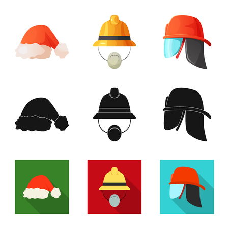 Isolated object of headgear and cap symbol. Collection of headgear and accessory vector icon for stock. Vectores