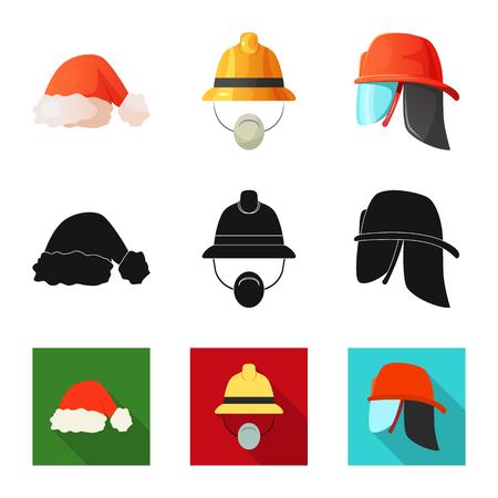 Objeto aislado del símbolo de sombrero y gorra. Colección de sombreros y accesorios vector icono de stock.