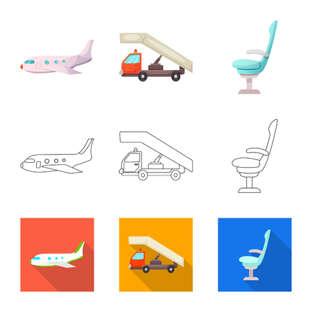 Vector design of airport and airplane icon. Set of airport and plane vector icon for stock.