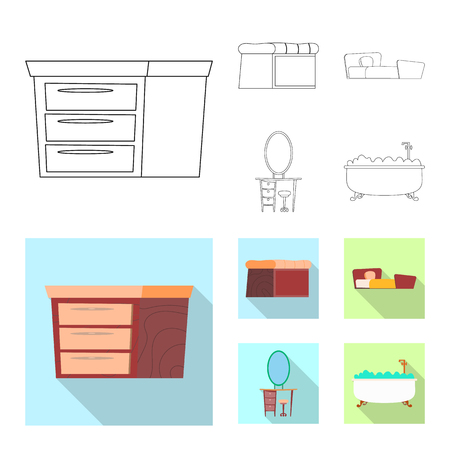 Vector illustration of furniture and apartment icon. Set of furniture and home vector icon for stock. Stock Illustratie