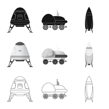 Isolated object of mars and space symbol. Set of mars and planet vector icon for stock. 일러스트