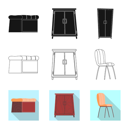 Vector design of furniture and apartment sign. Collection of furniture and home stock vector illustration. Vettoriali