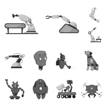 Vector design of robot and factory sign. Set of robot and space vector icon for stock.