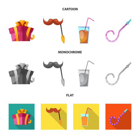 Vector illustration of party and birthday icon. Collection of party and celebration stock vector illustration. 일러스트