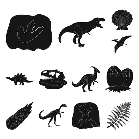 Different dinosaurs black icons in set collection for design. Prehistoric animal vector symbol stock web illustration.
