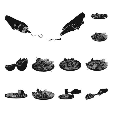 Cucinando le icone nere dell'alimento nella raccolta dell'insieme per progettazione. La cucina, l'attrezzatura e gli strumenti vector l'illustrazione di web delle azione di simbolo.