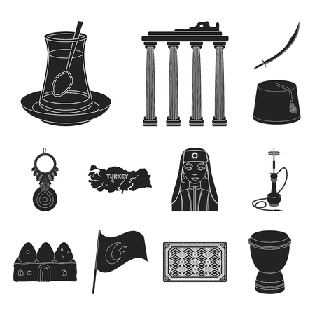 Turkey country black icons in set collection for design.Travel and attractions vector symbol stock web illustration.