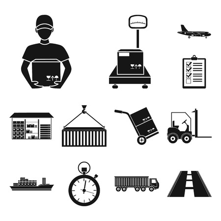 Logistics service black icons in set collection for design. Logistics and equipment vector symbol stock web illustration.