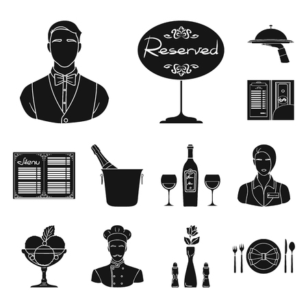 Restaurant and bar black icons in set collection for design. Pleasure, food and alcohol vector symbol stock web illustration. Illustration