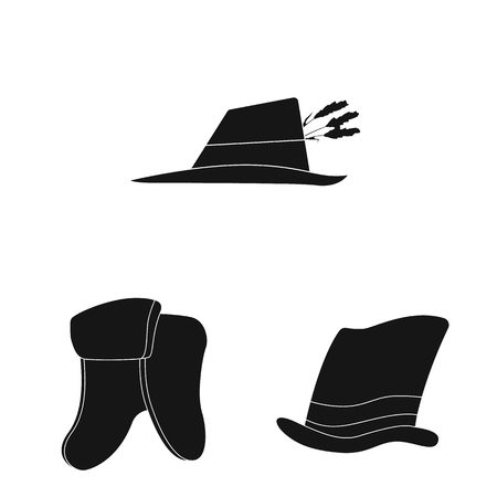 Isolated object of headgear and cap sign. Collection of headgear and accessory vector icon for stock. Ilustracje wektorowe