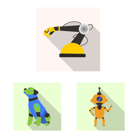 Vector illustration of robot and factory sign. Set of robot and space vector icon for stock.