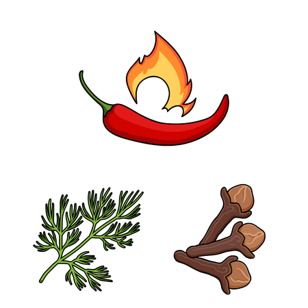 Herb and spices cartoon icons in set collection for design.Different kinds of seasonings vector symbol stock web illustration. Фото со стока - 108077393