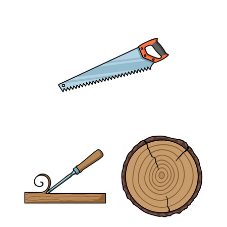 Zagerij en hout cartoon pictogrammen in set collectie voor design. Hardware en Tools symbool voorraad web vectorillustratie.