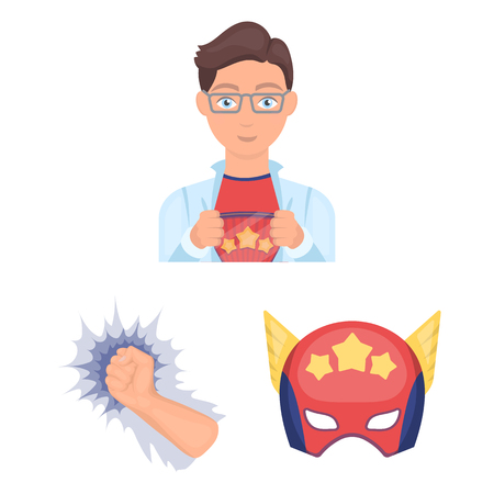 A fantastic superhero cartoon icons in set collection for design. Superheros equipment vector symbol stock web illustration. 矢量图像