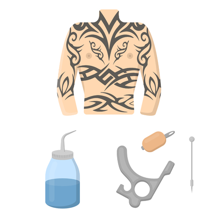Tattoo, drawing on the body cartoon icons in set collection for design. Tattoo salon and equipment vector symbol stock web illustration.