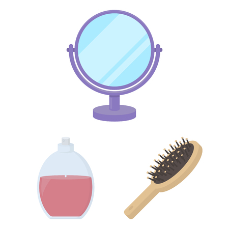 Makeup and cosmetics cartoon icons in set collection for design. Makeup and equipment vector symbol stock web illustration.