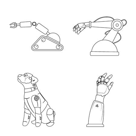 objeto aislado de robot y signo de fábrica . signo de robot y símbolo de espacio web para web