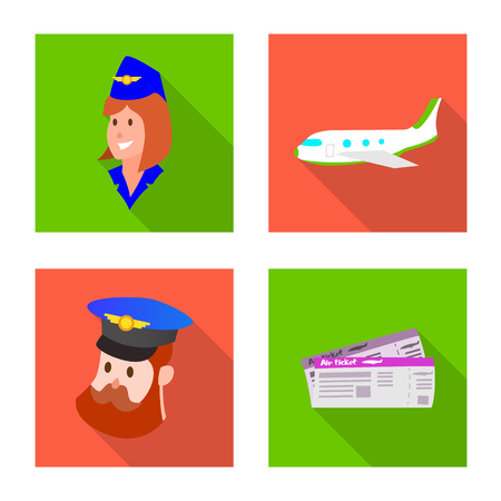 Vector illustration of airport and airplane logo. Set of airport and plane vector icon for stock.