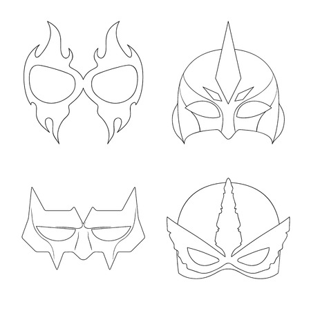 Isolated object of hero and mask sign. Collection of hero and superhero vector icon for stock.