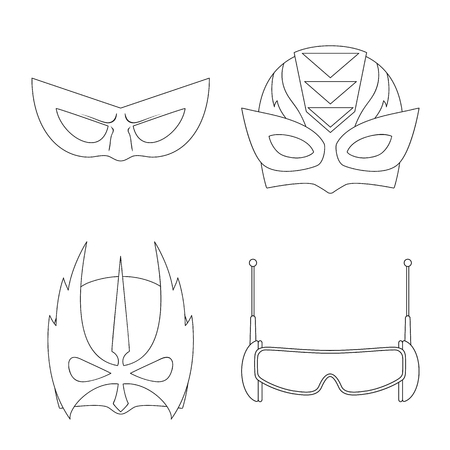 Vector illustration of hero and mask symbol. Set of hero and superhero stock symbol for web. Illustration