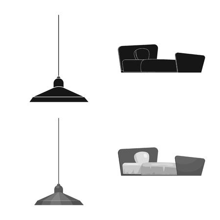 Vector design of furniture and apartment logo. Collection of furniture and home stock vector illustration. Stock Illustratie