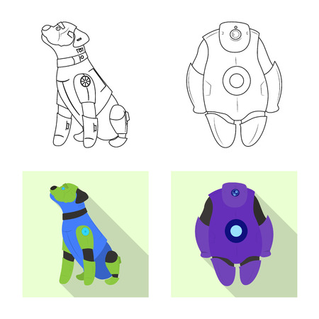 Isolated object of robot and factory icon. Collection of robot and space vector icon for stock.