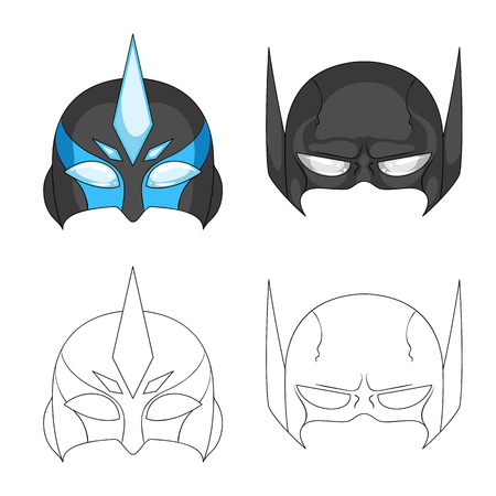 Isolated object of hero and mask icon. Collection of hero and superhero vector icon for stock.