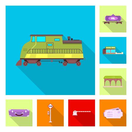 Vector illustration of train and station sign. Collection of train and ticket stock vector illustration. Illustration