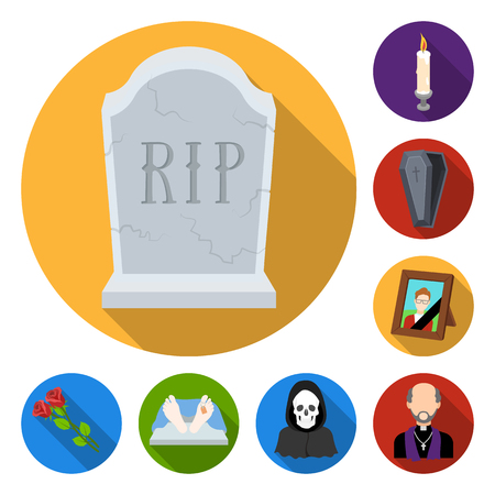 Funeral ceremony flat icons in set collection for design. Funerals and Attributes vector symbol stock  illustration. Illustration
