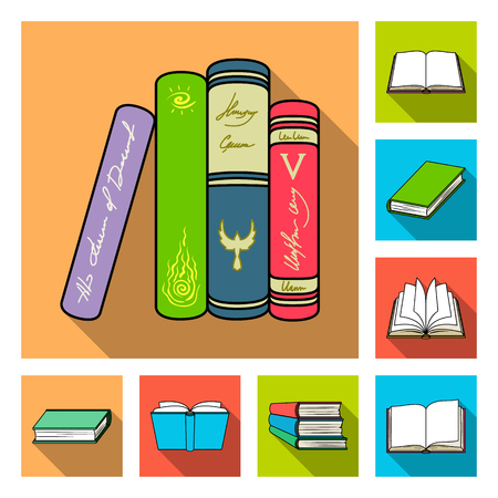 Book bound flat icons in set collection for design. Printed products vector symbol stock  illustration. Stock Illustratie