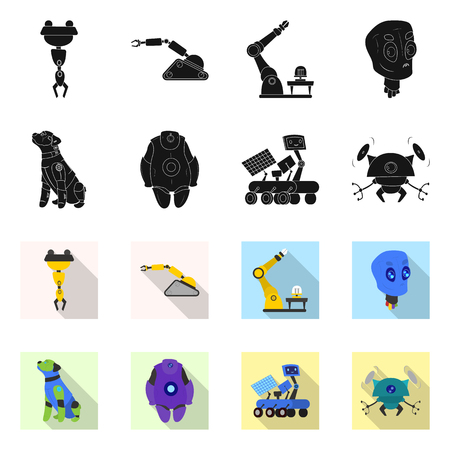 Vector design of robot and factory symbol. Set of robot and space vector icon for stock.