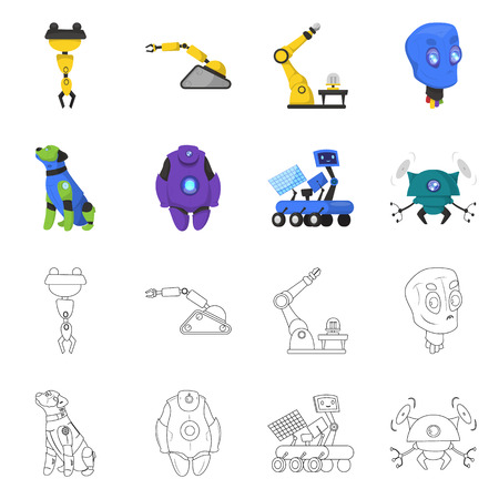 Isolated object of robot and factory logo. Collection of robot and space vector icon for stock. Ilustrace