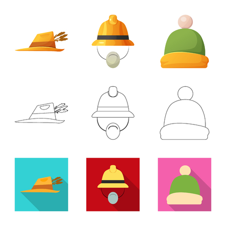 Isolated object of headgear and cap sign. Collection of headgear and accessory vector icon for stock.