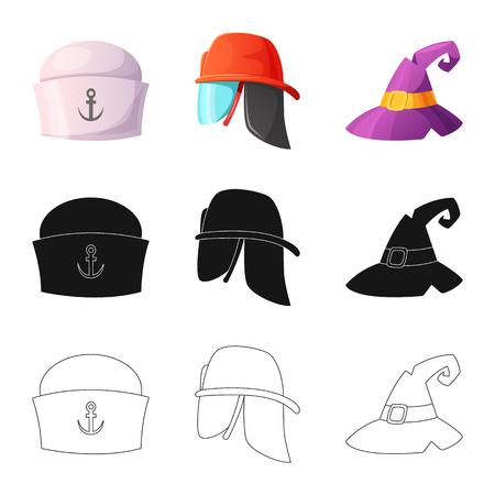 Isoliertes Objekt der Kopfbedeckung und des Kappenzeichens. Sammlung von Kopfbedeckung und Zubehörvektorikone für Lager.