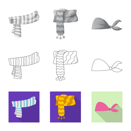 Isolated object of scarf and shawl logo. Collection of scarf and accessory stock symbol for web.